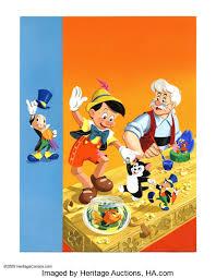 walt disney studio artist pinocchio coloring book cover lot