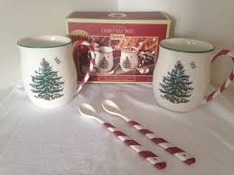spode tree set of 2 peppermint handle mugs w