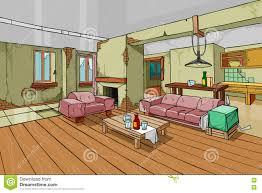 cartoon old shabby apartment interior stock vector image 61523395