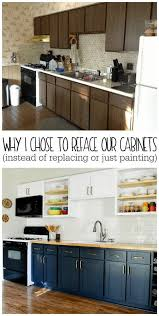 how to make cheap kitchen cabinets look better why i chose to reface my kitchen cabinets rather than paint