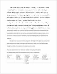 calculus final project calculus project volume of a solid with