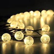 solar outdoor string lights 30 led warm white crystal ball