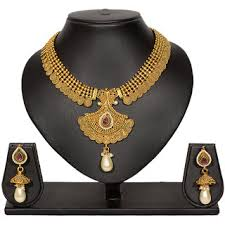 earring necklace set images Buy pourni traditional golden finish necklace set with stunning jpg