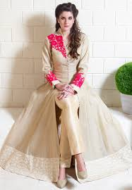 buy embroidered art silk jacket style abaya suit in beige online