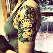 yellow flower tattoos lovely feminine clock with flower tattoos on shoulder