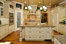 French Country Kitchen Blue And Yellow Country Kitchen With - French country kitchen cabinets photos