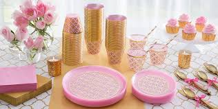 pink and gold party supplies metallic geometric pink plastic party supplies gold pink plastic