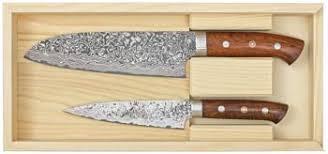coffret couteaux de cuisine de 2 couteaux de cuisine artisanaux japonais de takeshi saji