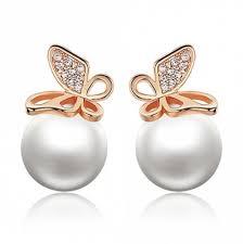 pearl earrings stud gold fashion gold butterfly pearl earrings stud rosegal