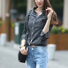 new spring long sleeved oxford shirt women slim fit lapel solid