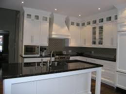 Kitchen Inserts For Cabinets by Transitional Kitchen With Stacked Upper Cabinets Glass Inserts