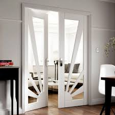 Interior Glazed Doors White by Jbk Calypso Aurora White Primed Door Pair With Clear Safety Glass