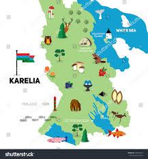 On The Map Hand Drawn Illustration Karelian Map Travel Stock Vector 568478275