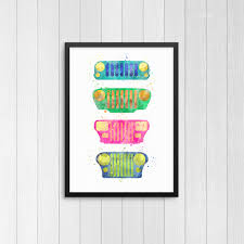 turquoise jeep cj jeep jk jeep tj jeep cj jeep yj jeep watercolor prints