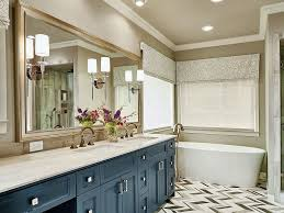 bathroom beige walls black pattern dark vanity double sink