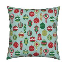 vintage christmas ornaments fabric red and green christmas