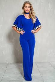 royal blue jumpsuit royal blue crochet sleeve casual jumpsuit