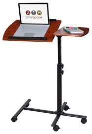 Movable Computer Desk Onespace Adjustable Mobile Computer Desk Dual Surface Cherry