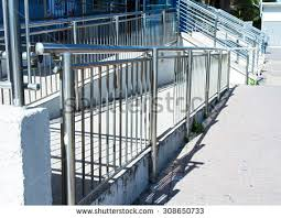 Stainless Steel Handrails Stainless Steel Handrails Installed On Walls Stock Photo 231281005