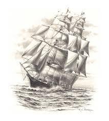 pencil sketches of sailing ships