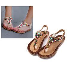 flat sandals ankle t strap fashion trend sandals bohemia flat heel