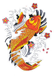 Japanese Designs Drawn Koi Fish Japanese Style Pencil And In Color Drawn Koi Fish