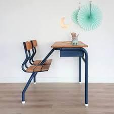 bureau d 馗olier ancien en bois 1 place pupitre d écolier vintage 1 place en bois et métal rénové enfant