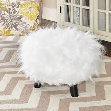 linon white shag faux fur ottoman free shipping today