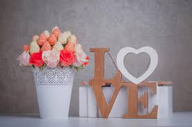 Decorating Wooden Letters Fruit Bouquet Decoration With Wooden Letters Love Stock Image
