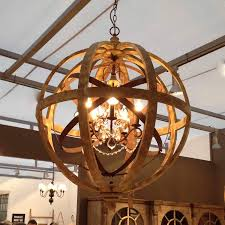 Chicken Wire Chandelier Wooden Orb Chandelier Metal Orb Detail And Crystal Orb