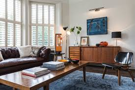 Area Rugs With Brown Leather Furniture Mid Century Eclectic Living Room Blue Armchairs Combined Red