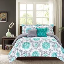 crest home sunrise king comforter 5 pc bedding set teal and grey
