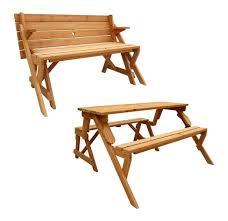 leisure season folding picnic table into bench solid wood decay
