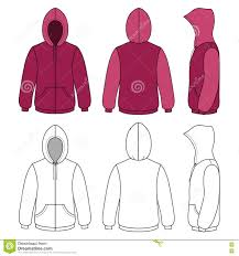 unisex hoodie template front side u0026 back outlined view stock