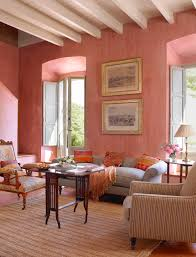 these walls have been painted in rose salmon tones with a lime