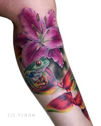 tattoo rework edmonton a cute little red eyed tree frog and stargazer lily piece by liz