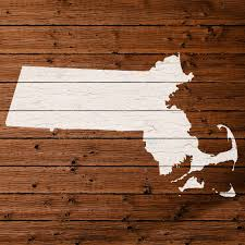 Map Of Massachusetts by Map Of Massachusetts State Outline White Distressed Paint On