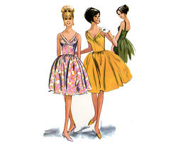 1960s party dress pattern plunging v neck low back bare top