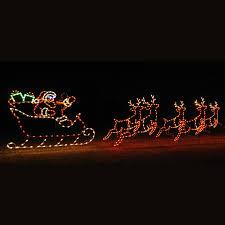 animated led santa sleigh u0026 5 reindeer display 30 u0027 w
