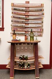 wine barrel table rack with glass holder reclaimed wine barrels