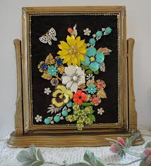 vintage jewelry framed garden art jewelry home decor gold