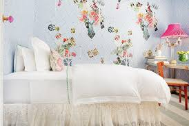 los angeles lace wall stencil bedroom shabby chic style with blue