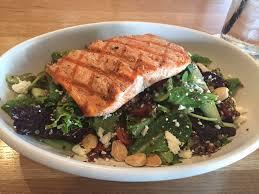 True Mediterranean Kitchen - mediterranean quinoa salad with salmon a very hearty portion of
