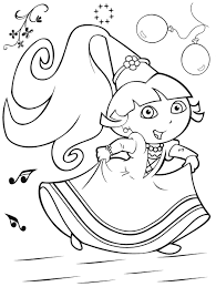 coloring page dora boots