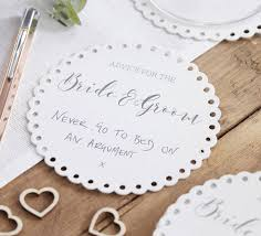 advice to the and groom cards advice for the and groom wedding coaster by