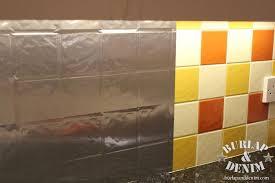 Faux Stainless Steel Removable Backsplash For Renters Burlap - Covering tile backsplash