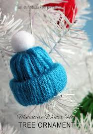 winter hat tree ornament yarn craft ornament tree and