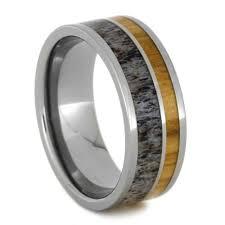 mens wedding bands titanium mens wedding band ring with bethlehem olive wood and deer antler
