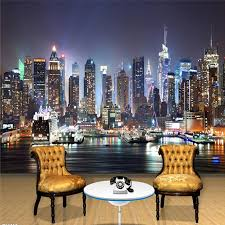 New York scenery images Wholesale custom 3d mural wallpaper new york city night scenery jpg