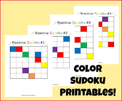 Printable Logic Puzzles Rainbow Colors Sudoku Logic Game For Kids Time Snippets